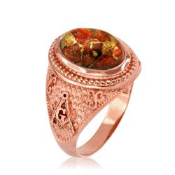 Rose Gold Masonic Oprange Copper Turquoise Ring