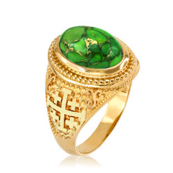 Yellow Gold Jerusalem Cross Green Copper Turquoise Ring