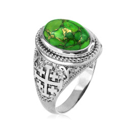 White Gold Jerusalem Cross Green Copper Turquoise Ring