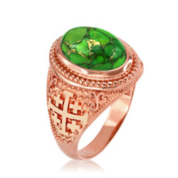 Rose Gold Jerusalem Cross Green Copper Turquoise Ring