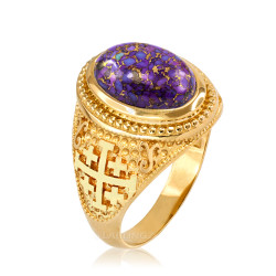 Yellow Gold Jerusalem Cross Purple Copper Turquoise Ring
