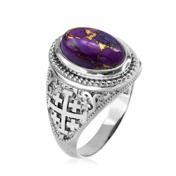 White Gold Jerusalem Cross Purple Copper Turquoise Ring
