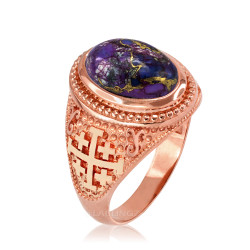 Rose Gold Jerusalem Cross Purple Copper Turquoise Ring