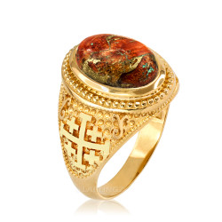 Yellow Gold Jerusalem Cross Orange Copper Turquoise Ring
