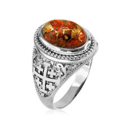 White Gold Jerusalem Cross Orange Copper Turquoise Ring