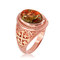 Rose Gold Jerusalem Cross Orange Copper Turquoise Ring