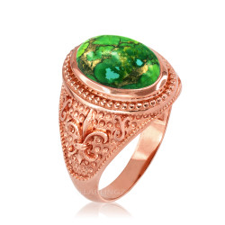 Rose Gold Fleur de Lis Green Copper Turquoise Ring