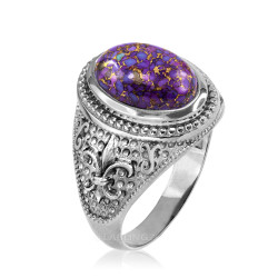 White Gold Fleur de Lis Purple Copper Turquoise Ring