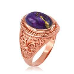 Rose Gold Fleur de Lis Purple Copper Turquoise Ring