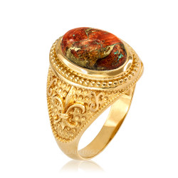 Yellow Gold Fleur de Lis Orange Copper Turquoise Ring
