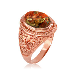 Rose Gold Fleur de Lis Orange Copper Turquoise Ring