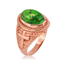 Rose Gold Christian Cross Green Copper Turquoise Ring