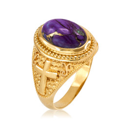 Yellow Gold Christian Cross Purple Copper Turquoise Ring