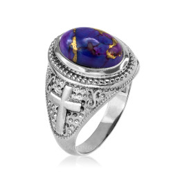 White Gold Christian Cross Purple Copper Turquoise Ring