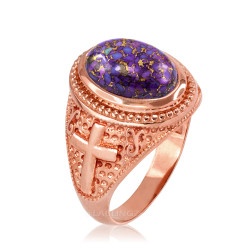 Rose Gold Christian Cross Purple Copper Turquoise Ring