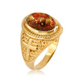 Yellow Gold Christian Cross Orange Copper Turquoise Ring