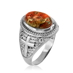 White Gold Christian Cross Orange Copper Turquoise Ring
