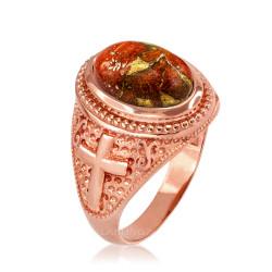 Rose Gold Christian Cross Orange Copper Turquoise Ring