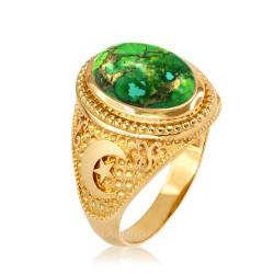 Yellow Gold Islamic Crescent Moon Green Copper Turquoise Ring