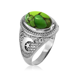 White Gold Islamic Crescent Moon Green Copper Turquoise Ring
