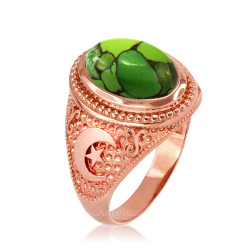 Rose Gold Islamic Crescent Moon Green Copper Turquoise Ring