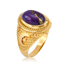 Yellow Gold Islamic Crescent Moon Purple Copper Turquoise Ring
