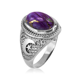 White Gold Islamic Crescent Moon Purple Copper Turquoise Ring