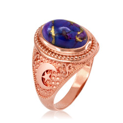 Rose Gold Islamic Crescent Moon Purple Copper Turquoise Ring