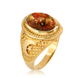 Yellow Gold Islamic Crescent Moon Orange Copper Turquoise Ring
