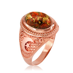 Rose Gold Islamic Crescent Moon Orange Copper Turquoise Ring