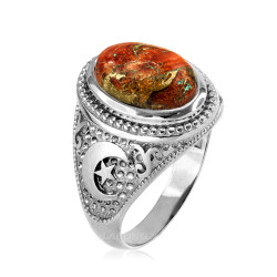 Sterling Silver Islamic Crescent Moon Orange Copper Turquoise Ring