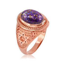 Rose Gold Jewish Star of David Purple Copper Turquoise Ring