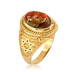 Yellow Gold Jewish Star of David Orange Copper Turquoise Ring
