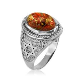 White Gold Jewish Star of David Orange Copper Turquoise Ring