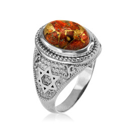 Sterling Silver Jewish  Star of David Orange Copper Turquoise Ring