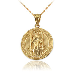Solid Gold St. Benedict Reversible Medallion Charm Necklace