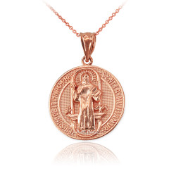 Solid Rose Gold St. Benedict Reversible Medallion Charm Necklace