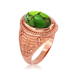 Rose Gold Marijuana Weed Green Copper Turquoise Ring