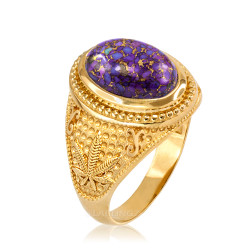 Yellow Gold Marijuana Weed Purple Copper Turquoise Ring