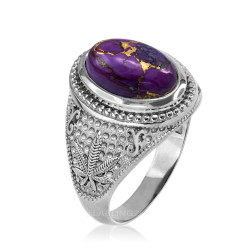 White Gold Marijuana Weed Purple Copper Turquoise Ring