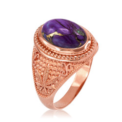 Rose Gold Marijuana Weed Purple Copper Turquoise Ring