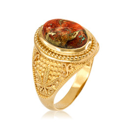 Yellow Gold Marijuana Weed Orange Copper Turquoise Ring