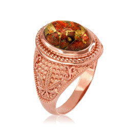 Rose Gold Marijuana Weed Orange Copper Turquoise Ring