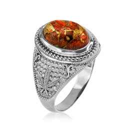 Sterling Silver Marijuana Weed Orange Copper Turquoise Ring
