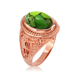Rose Gold Money Dollar Sign Green Copper Turquoise Ring