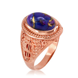 Rose Gold Money Dollar Sign Purple Copper Turquoise Ring