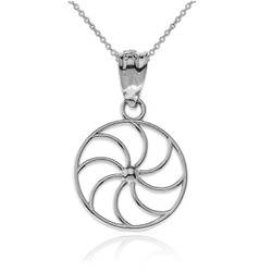 White Gold Armenian Eternity Filigree Charm Necklace
