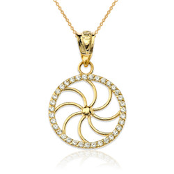 Gold Diamond Armenian Eternity Filigree Charm Necklace