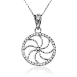 White Gold Diamond Armenian Eternity Filigree Charm Necklace