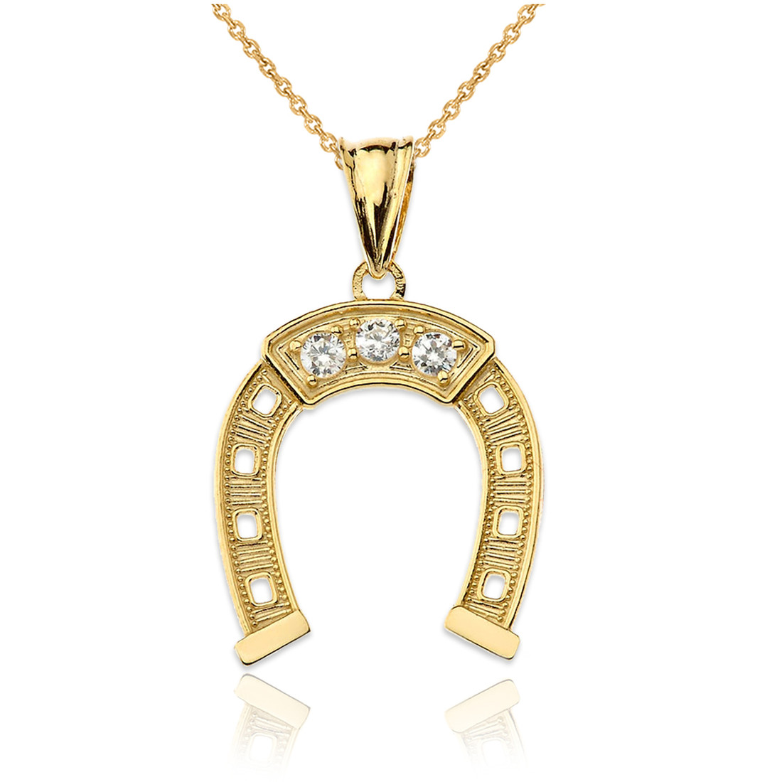 LA BLINGZ 10K Yellow Gold Lucky Horseshoe CZ Pendant Necklace